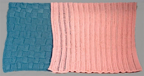 Easy Baby Blankets Two Patterns Blocks And Lace Two Etsy