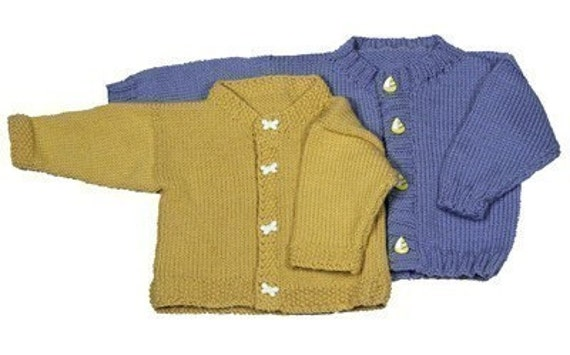Easy Baby Cardigan Knitting Pattern Pdf Etsy