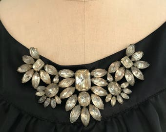 Huge Victorian Era Rhinestone Collar Brooch
