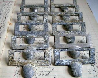 Vintage Metal Label Holders. Salvaged & Aged Drawer Pulls
