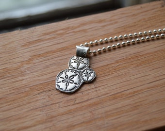 Nature lover - fine silver sand dollar necklace - ocean lover necklace