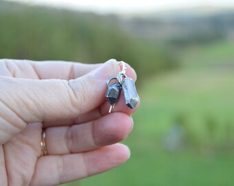 nature lover earrings - cast sterling silver cast crystal earrings