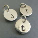 Tiny Hand Stamped Charm Custom Initial - Add On Small Silver Charm - Moms Necklace - personalized jewelry - monogram jewelry