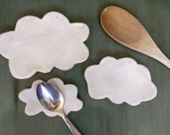 Cloud Spoon Rest -  Coffee spoon rest - pottery- Jewelry Dish- Soap Dish- Ceramic clouds- tea bag rest- Kitchen Decor - trinket pottery