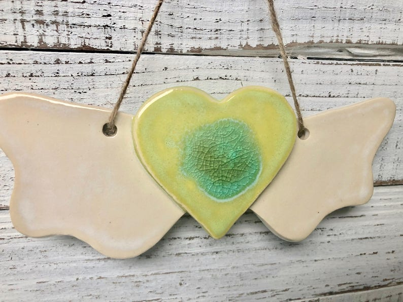 angel Heart with Wings wall art Holiday ornament ceramic melted glass wings decoration love ornament wall hanging memorial