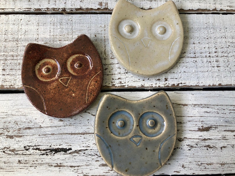Ceramic Owl Trinket dish Coffee Spoon rest Tea Bag holder Jewelry- rings- wedding favors- shower- candle votive plate- hostess- gift