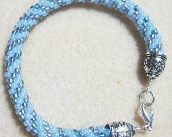 Kuhimino Braided Spiral Rope  Bracelet -   Capers in Blue