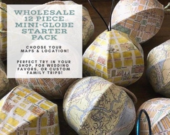 Wholesale- 12 pieces- Mini-Globes - Ornaments - Souvenirs- Wedding Favors- Custom Maps of your state / city / country / location