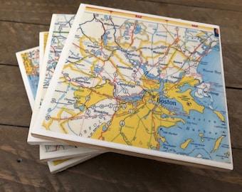 Vintage Map of Boston MA & Vicinity Handmade Coaster Set- Set of 4