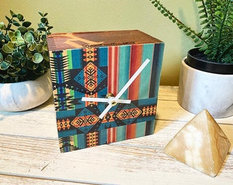 Vintage Southwest Blanket Print Upcycled Cigar Box Clock