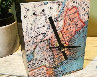 Vintage Map of New England and Northeast Upcycled Cigar Box Clock