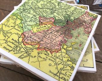 Vintage Map of Boston, Cape Cod & New England Sites Handmade Coaster Set - Set of 5