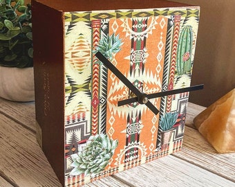 Southwest Blanket Print and Cactus Collage Upcycled Cigar Box Clock
