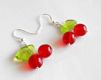 Cherry Earrings - Glass Cherry Earrings - Rockabilly Earrings - Cherry Jewelry - Rockabilly Jewelry - Cherry Chick - Red Earrings
