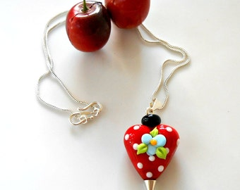 Red Heart Necklace - Valentine Heart Pendant - Polka Dot Heart - Lampwork Glass Heart - Heart Jewelry - Flower Heart Necklace - Cherry Chick