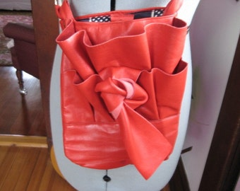 Red Leather Upside Down Ruffle Bag Sale