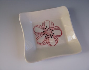Ceramic Pottery Trinket Tray White with Red and Black Flower