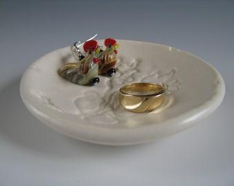 Ceramic Ring Catcher Ring Dish Ring Holder White