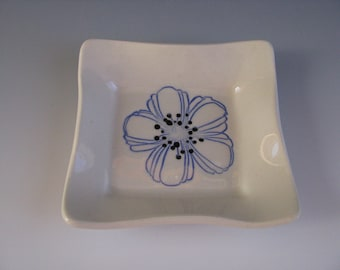 Ceramic Pottery Trinket Tray White with Blue and Black Flower