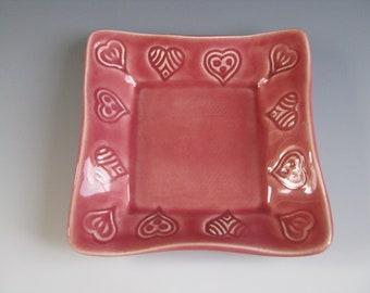Ceramic Pottery Trinket Tray Pink Hearts Valentine