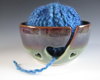 Ceramic Yarn Bowl, Pottery Knitting Bowl, Hearts, Earthy Brown and Spearmint Green