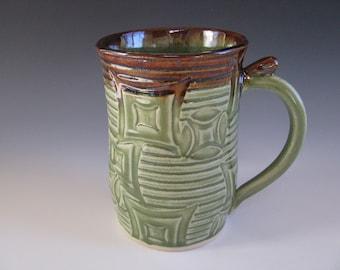 Ceramic Pottery Mug Textured Spearmint Green Brown
