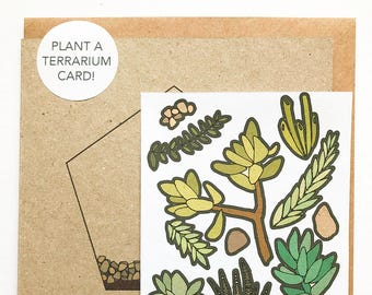 Plant your own terrarium card, houseplant stickers, DIY succulent gift, design your own activity card, plant lover card gift, gardening card