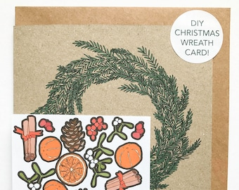 DIY Christmas wreath card, decorate with stickers, festive holiday card, design your own activity card, pine cone mistletoe berries