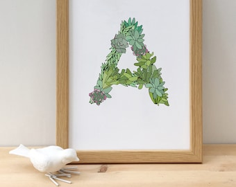 Succulent initial print, personalised print, botanical letter print, new home wall art, personalised plant print, wedding gift, baby gift