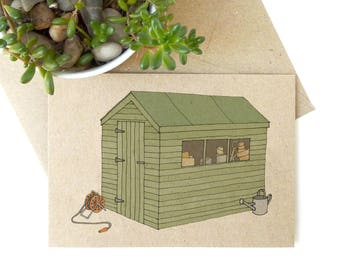 Garden shed card - eco friendly - recycled kraft card for gardener - allotment / garden / retirement