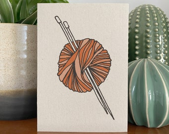 Knitting card, recycled eco friendly ball of yarn and knitting needles illustration.