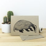 Badger card - wildlife / nature / animal / illustrated recycled card - eco friendly