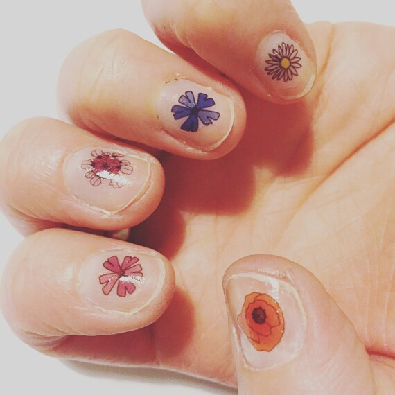 Wild Flower Nail Transfers Illustrated Floral Nail Art Etsy