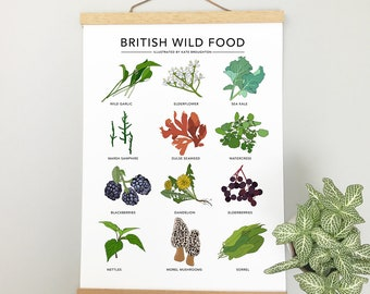 British Wild Food print - wild food illustrated poster - wall art home decor , cooking gift , new home gift , foraging guide , kitchen art