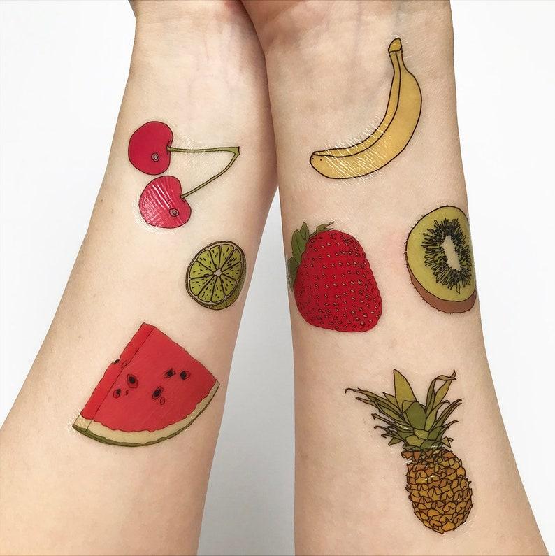 df8da4584 Fruit temporary tattoos watermelon pineapple strawberry | Etsy