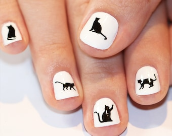 black cat nail transfers - halloween illustrated nail art decals - kitty nail art stickers - halloween costume nails