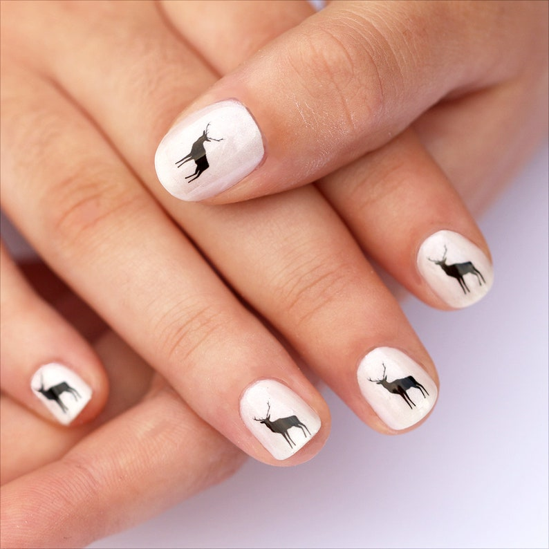 Deer Nail Transfers Illustrated Animal Nail Art Decals Etsy