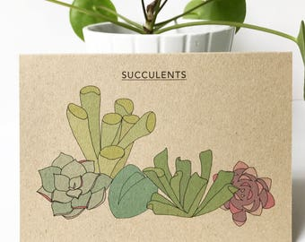 Succulents card - succulent collection - plant print recycled eco friendly kraft card