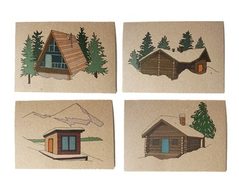 set of four winter lodge cards - log cabin cards - log cabin illustrations - christmas cards - blank inside - recycled - eco friendly