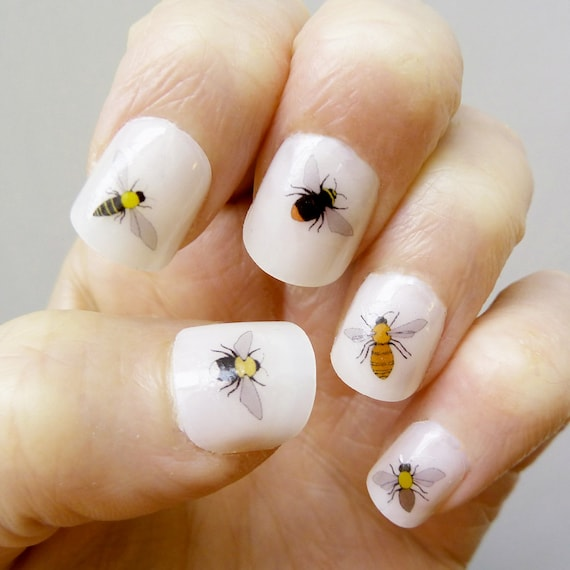 bee nail transfers handmade illustrated nail art decals | Etsy