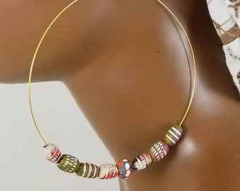 Gold hoop 4 inch African beaded threader statement  earrings basketball wives 851