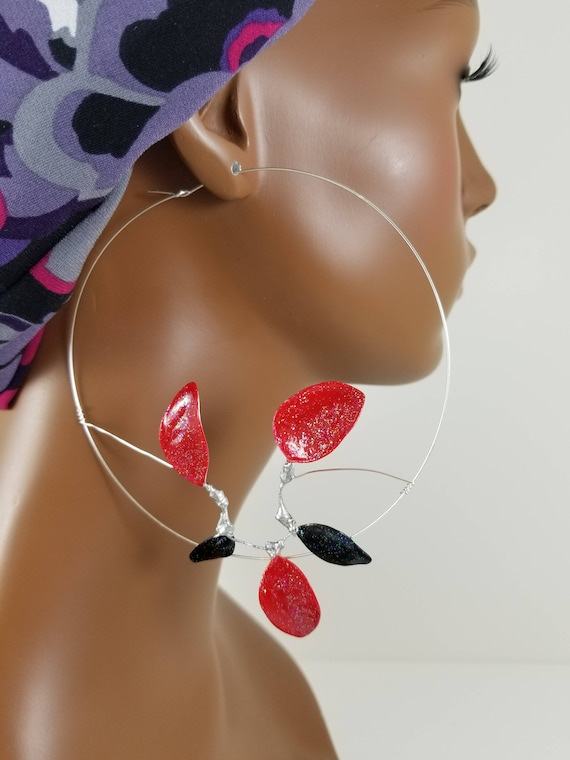 bc123a3206b0e 4 inch red and black abstract threader basketball wives statement earrings  849c