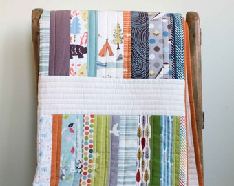 Modern Patchwork Stripes Throw Quilt in Blue, Green, Orange & Ivory; Colorful Woodland, Organic Cotton Baby, Crib, Toddler or Throw Quilt