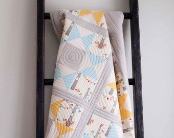 Patchwork Star Baby Quilt in Blue, Yellow & Gray; Modern Toddler Quilt; Handmade, Woodland Organic Cotton Crib Quilt for Baby Boy or Girl