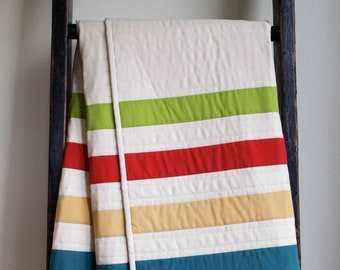 Modern Stripes Baby Quilt in Ivory, Green, Blue, Red, Yellow; Handmade Organic Cotton Crib Quilt Gift; Personalized Baby or Toddler Quilt