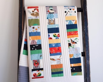Colorful Charley Harper Birds Patchwork Crib Quilt; Woodland Toddler Quilt; Handmade, Custom Organic Cotton Quilt for Baby Boy or Girl