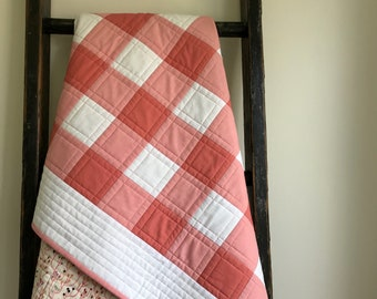 Pink & White Buffalo Check, Plaid Organic Cotton Baby Quilt; Coral, Pink, White Rustic Modern Patchwork Crib Quilt; Gift for Baby Girl