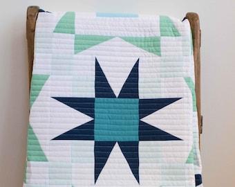 Modern Patchwork Star Baby Quilt in Blue, Mint, & White; Stargazer Quilt; HandmadeToddler Quilt; Organic Cotton Crib Quilt for Boy or Girl