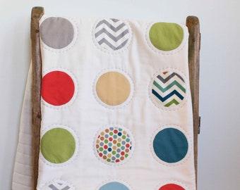 Colorful Polkadot Baby Quilt; Handmade Polka Dot Toddler Quilt; Modern Organic Cotton Crib Quilt; Nursery Bedding; Newborn Baby Shower Gift
