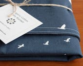 Navy Blue Organic Cotton Baby Blanket Modern Blue, Cream Receiving Blanket Personalized with Hand Embroidered Lettering Birds in Flight